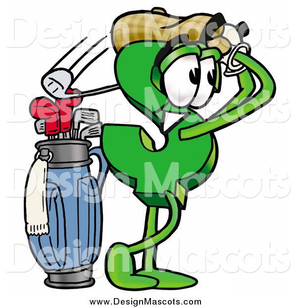 Illustration of a Dollar Sign Mascot Swinging His Golf Club While Golfing