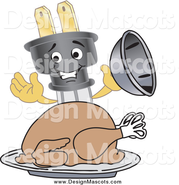 Illustration of a Electric Plug Mascot Serving a Thanksgiving Turkey on a Platter