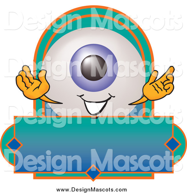 Illustration of a Eyeball Mascot on a Blank Business Label