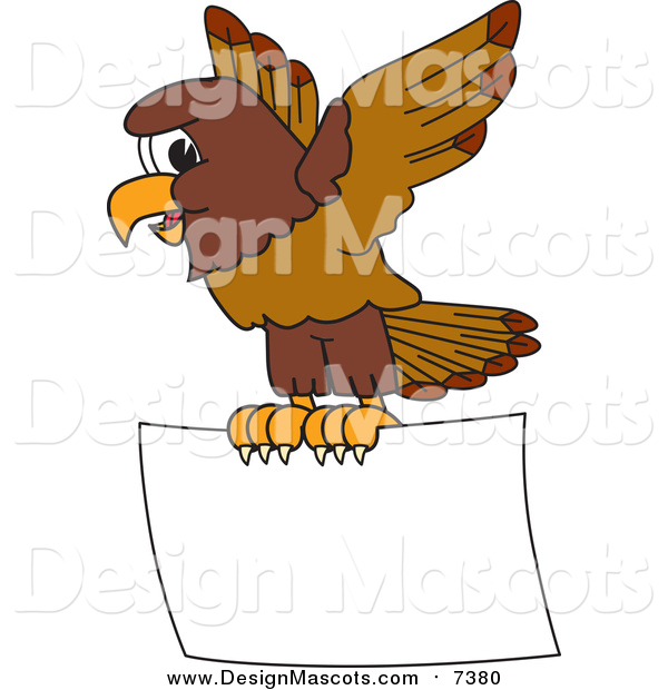 Illustration of a Falcon Mascot Flying a Blank Sign