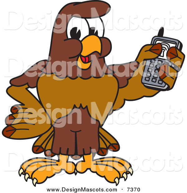 Illustration of a Falcon Mascot Holding a Cell Phone
