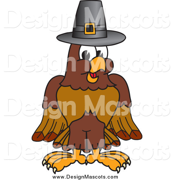 Illustration of a Falcon Mascot Wearing a Thanksgiving Pilgrim Hat