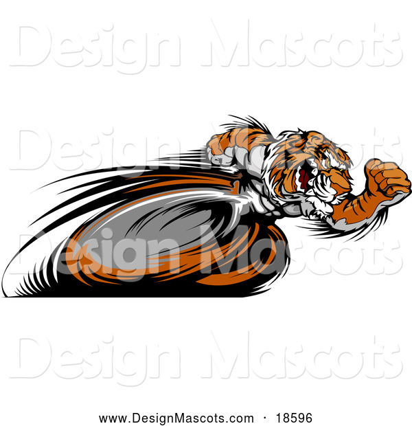 Illustration of a Fast Tiger Mascot Running Real Quick with Motion Blurred Legs