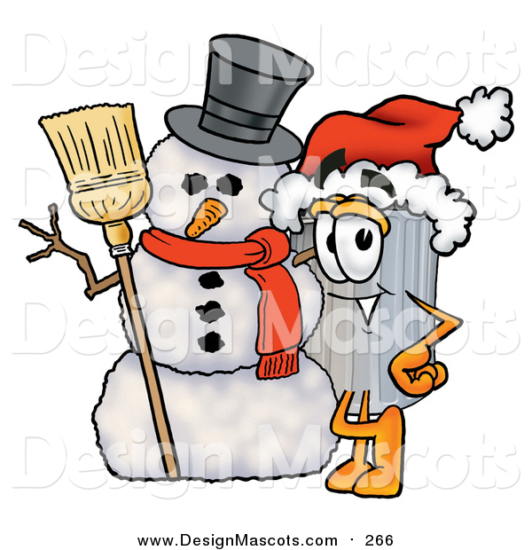 Illustration of a Garbage Can Mascot with a Snowman on Christmas