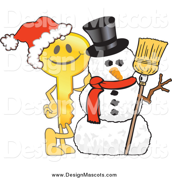 Illustration of a Golden Key Mascot by a Christmas Snowman