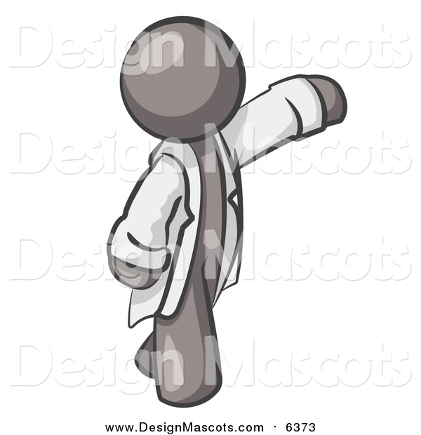 Illustration of a Gray Scientist, Veterinarian or Doctor Waving and Wearing a White Lab Coat