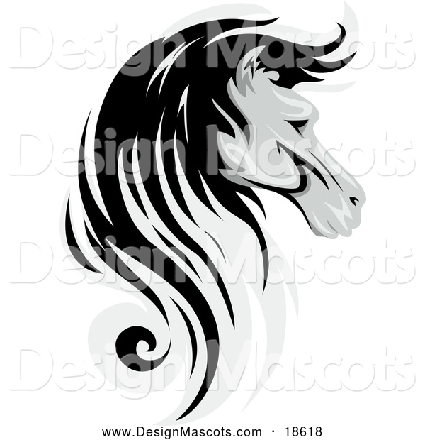 Illustration of a Grayscale Horse Mascot in Profile