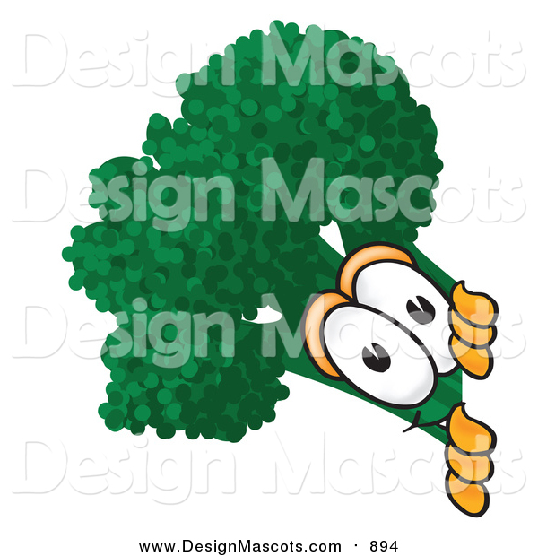 Illustration of a Green Broccoli Mascot Peeking Around a Corner