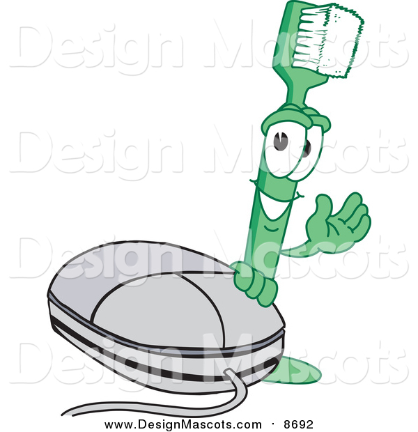 Illustration of a Green Toothbrush Mascot by a Computer Mouse