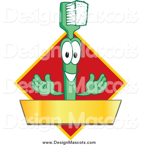 Illustration of a Green Toothbrush Mascot with a Gold Banner on a Red Diamond