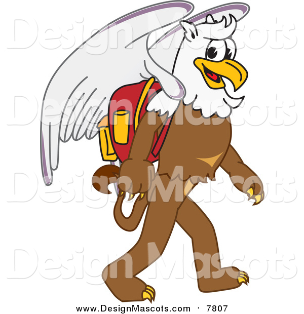 Illustration of a Griffin Mascot Walking to School