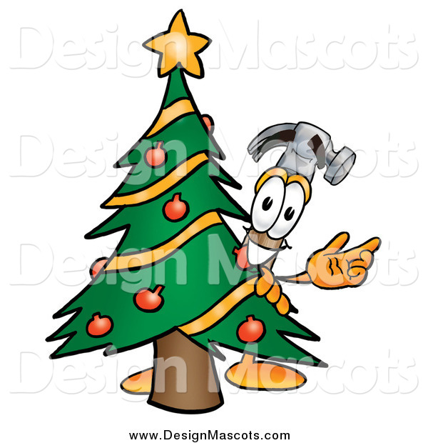 Illustration of a Hammer Mascot and Christmas Tree