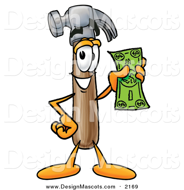 Illustration of a Hammer Mascot Holding a Dollar Bill