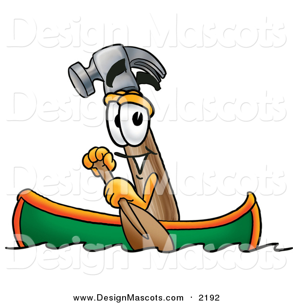 Illustration of a Hammer Mascot Rowing a Boat