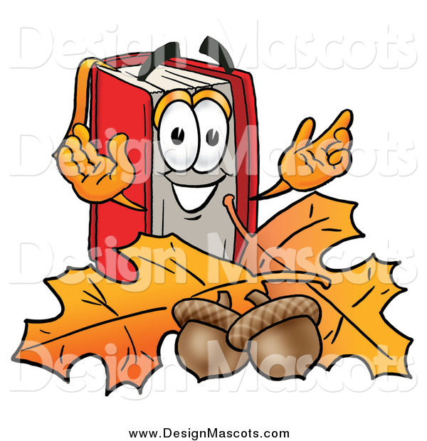 Illustration of a Happy Book Mascot with Autumn Leaves and Acorns