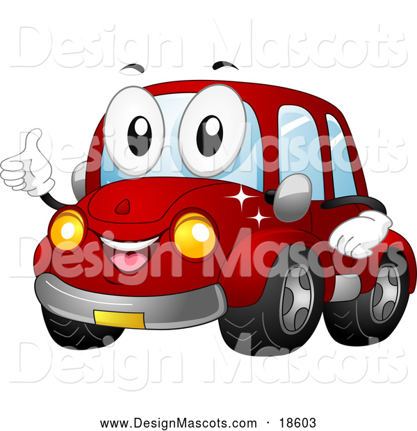 Illustration of a Happy Red Car Mascot Holding a Thumb up and Smiling