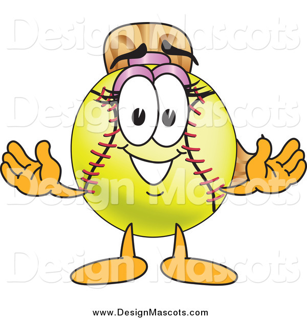 Illustration of a Happy Welcoming Softball Mascot Character Smiling