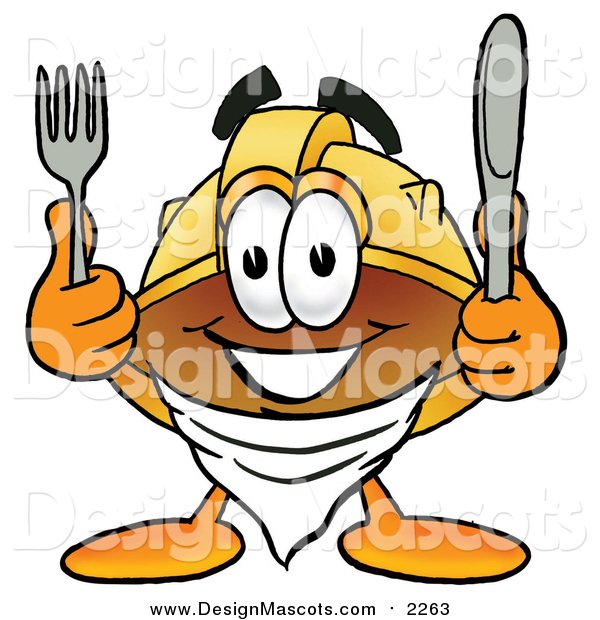 Illustration of a Hard Hat Mascot Holding a Knife and Fork