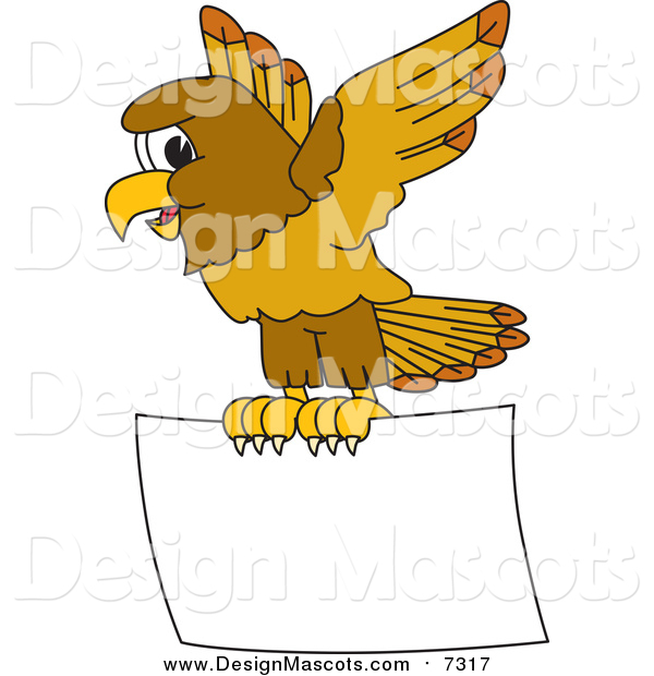 Illustration of a Hawk Mascot Flying a Blank Sign