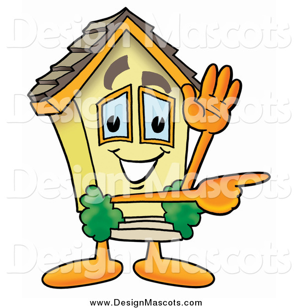 Illustration of a House Mascot Waving and Pointing