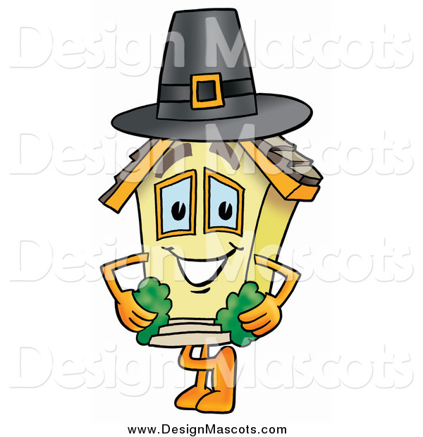 Illustration of a House Mascot Wearing a Pilgrim Hat on Thanksgiving