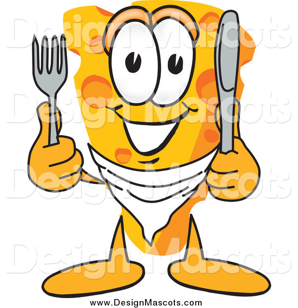 Illustration of a Hungry Cheese Mascot with Silverware