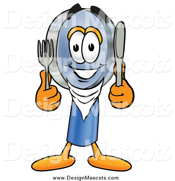 Illustration of a Hungry Magnifying Glass Mascot Holding a Knife and Fork