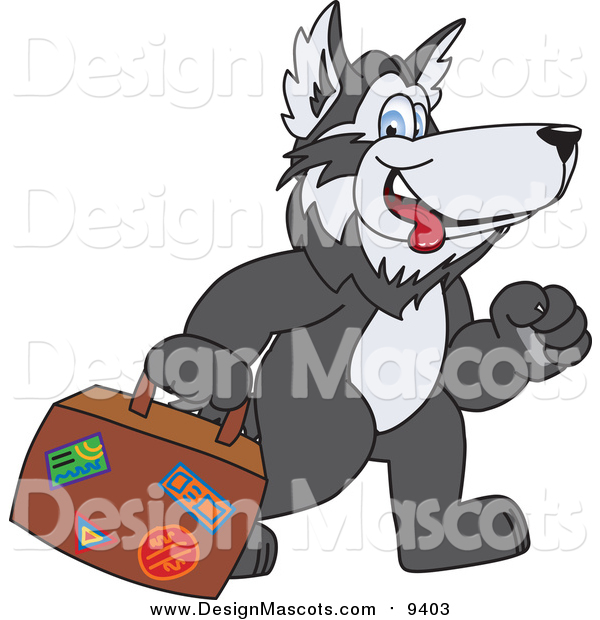Illustration of a Husky Mascot Carrying Luggage
