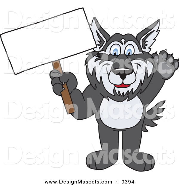 Illustration of a Husky School Mascot Waving and Holding a Blank Sign