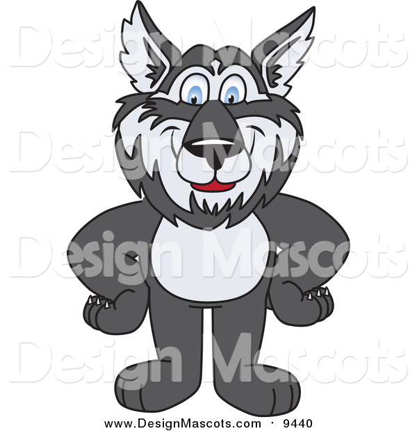 Illustration of a Husky School Mascot with His Hands on His Hips
