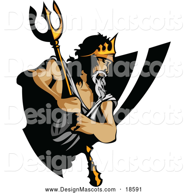 Illustration of a King Titan Mascot Holding His Trident