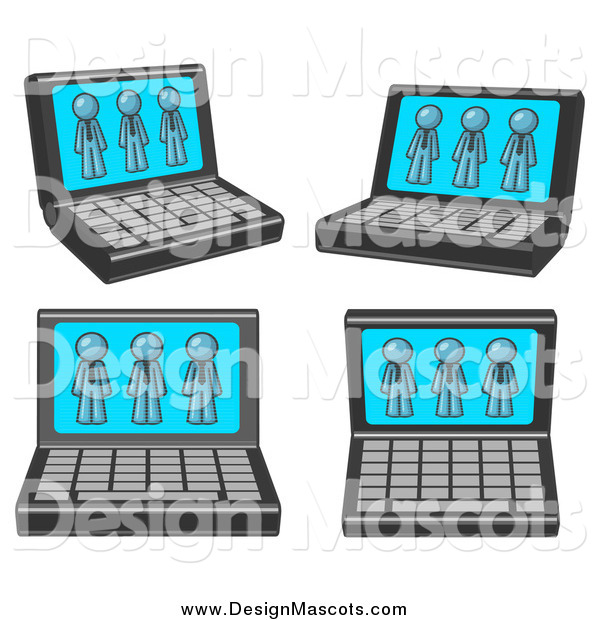 Illustration of a Laptop Computers with Denim Blue Men on Each Screen