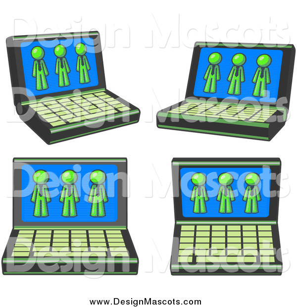 Illustration of a Laptop Computers with Lime Green Men on Each Screen