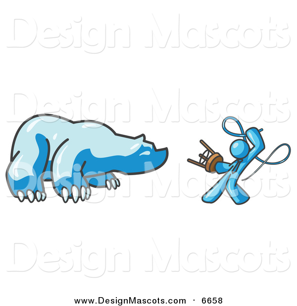 Illustration of a Light Blue Man Holding a Stool and Whip While Taming a Bear, Bear Market