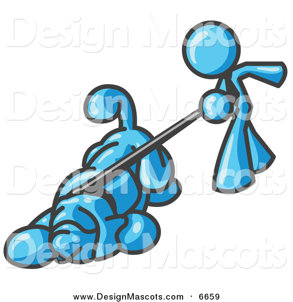 Illustration of a Light Blue Man Walking a Hound Dog That Is Pulling on a Leash