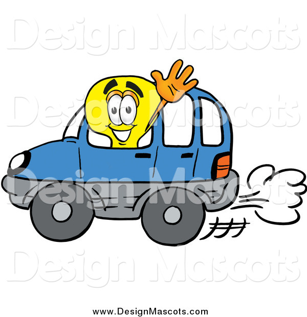Illustration of a Light Bulb Mascot Driving a Blue Car and Waving