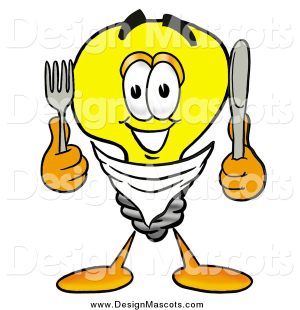 Illustration of a Light Bulb Mascot with a Knife and Fork