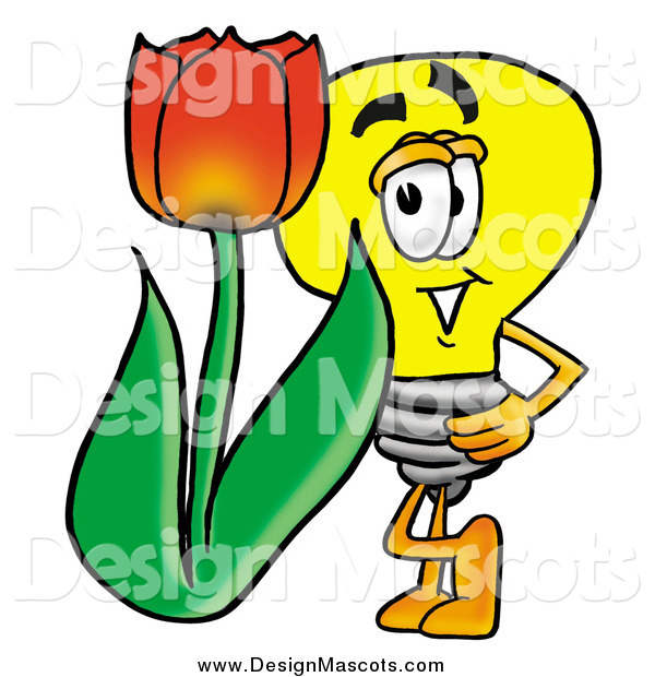 Illustration of a Light Bulb Mascot with a Red Spring Tulip