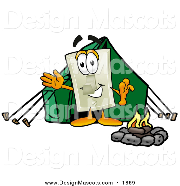 Illustration of a Light Switch Mascot Camping with a Tent and Fire