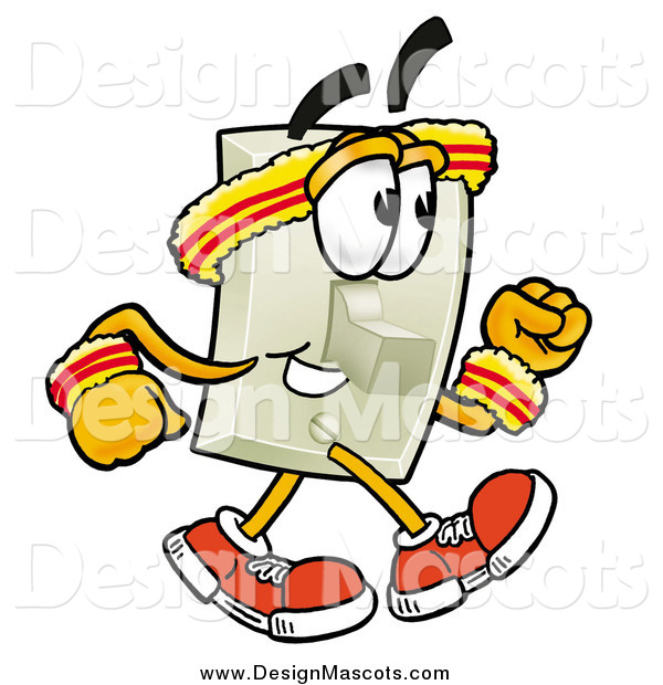 Illustration of a Light Switch Mascot Speed Walking or Jogging