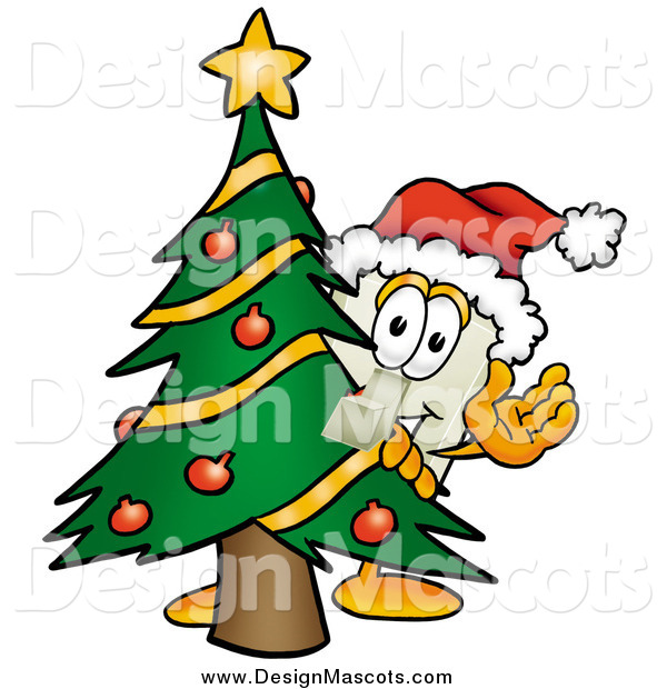 Illustration of a Light Switch Mascot Waving Around a Christmas Tree