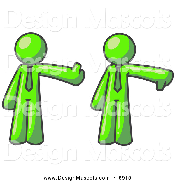Illustration of a Lime Green Business Man Giving the Thumbs up Then the Thumbs down