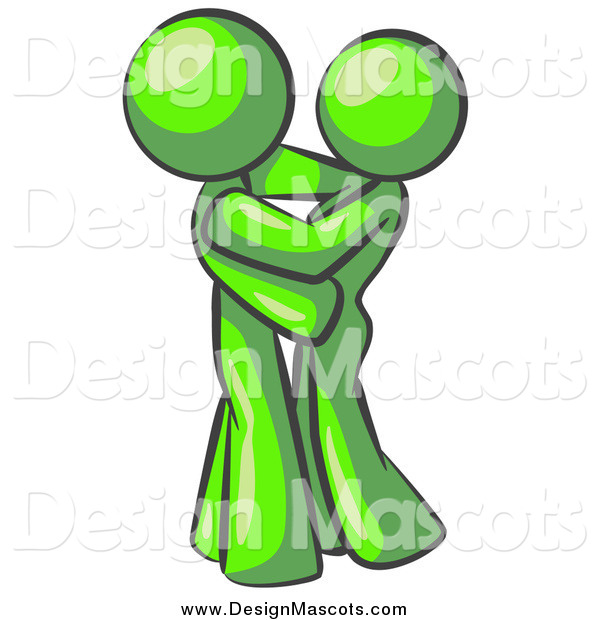 Illustration of a Lime Green Couple Embracing