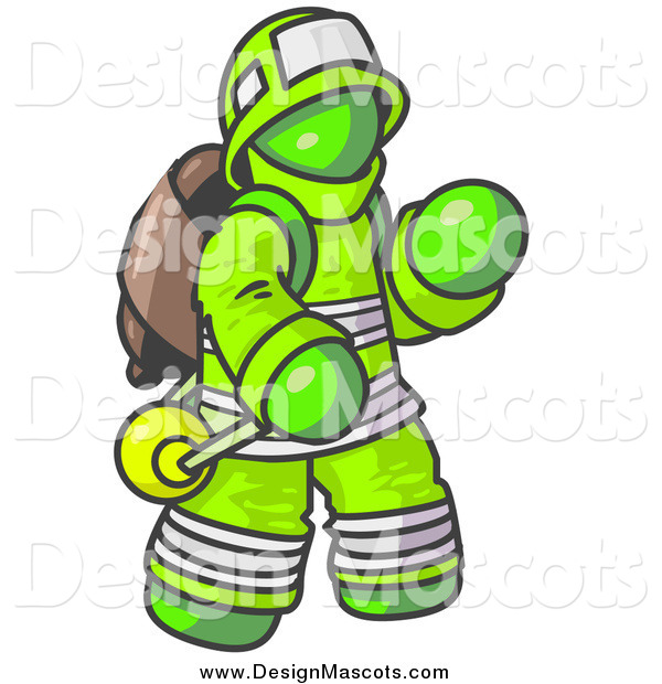 Illustration of a Lime Green Fireman