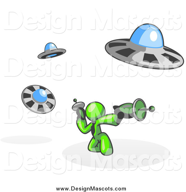 Illustration of a Lime Green Man Battling off UFO's with Weapons