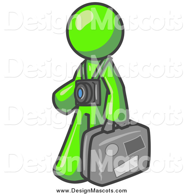 Illustration of a Lime Green Tourist Man Carrying His Suitcase and Walking with a Camera Around His Neck