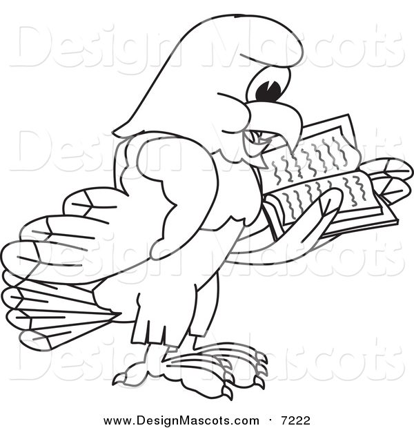 Illustration of a Lineart Bald Eagle Hawk or Falcon Reading