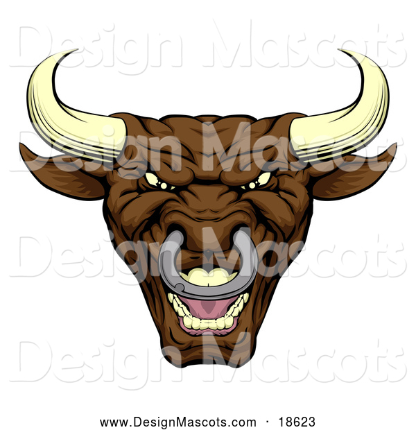 Illustration of a Mad Brown Bull Mascot