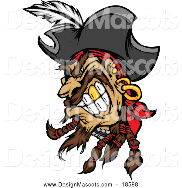 Illustration of a Mad Pirate Mascot with a Gold Tooth