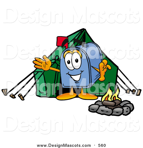 Illustration of a Mailbox Mascot Camping with a Tent and Fire